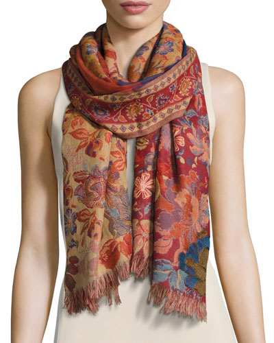 Chaman Floral Wool Stole, Red