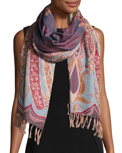 Desiree Paisley Wool Stole, Lilac