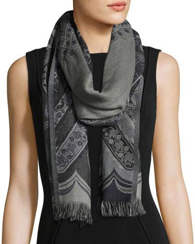 Desiree Paisley Wool Stole, Black/Gray