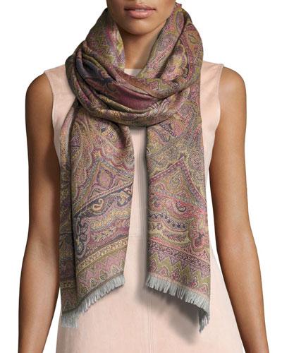 Chai Paisley Wool Stole, Fuchsia