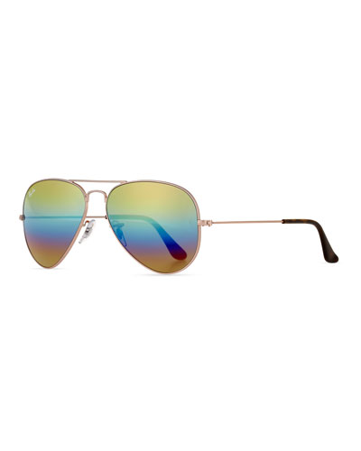 Standard Mirrored Iridescent Aviator Sunglasses, Gold