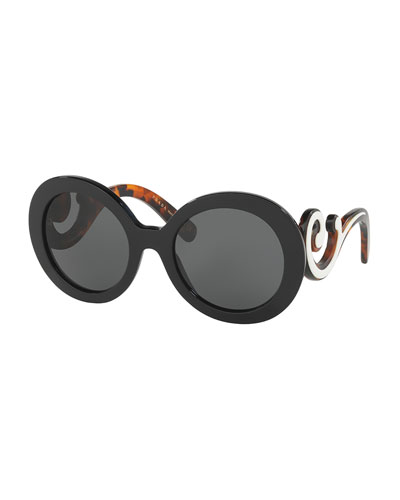 Monochromatic Round Scroll Sunglasses, Black/Ivory