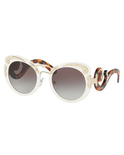 Gradient Butterfly Scroll Sunglasses, Ivory