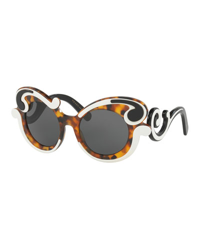 Gradient Two-Tone Round Scroll Sunglasses, Tortoise/Ivory
