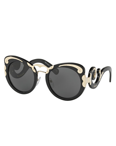 Monochromatic Butterfly Scroll Sunglasses, Black