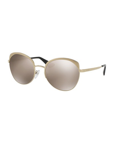 Mirrored Inlay Butterfly Sunglasses, Gold