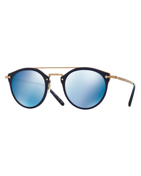 Oliver Peoples Remick Mirrored Brow-Bar Sunglasses, Blue
