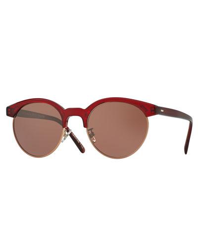 Ezelle Monochromatic Semi-Rimless Sunglasses, Red