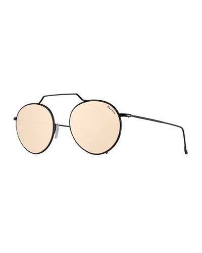 Wynwood III Round Mirrored Sunglasses, Black