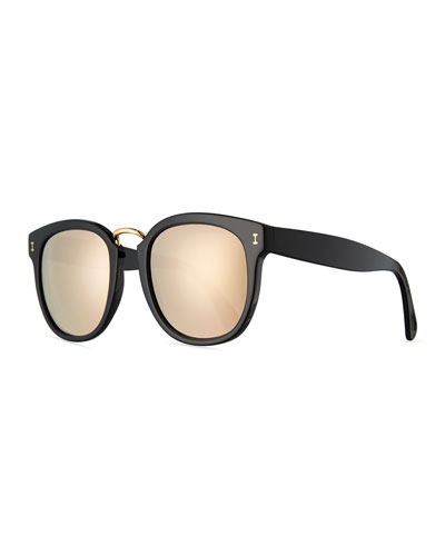 Sardinia Mirrored Square Sunglasses, Black/Gold