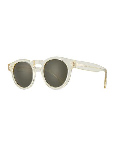 Leonard Monochromatic Round Sunglasses, Champagne