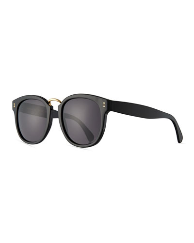 Sardinia Monochromatic Square Sunglasses, Black