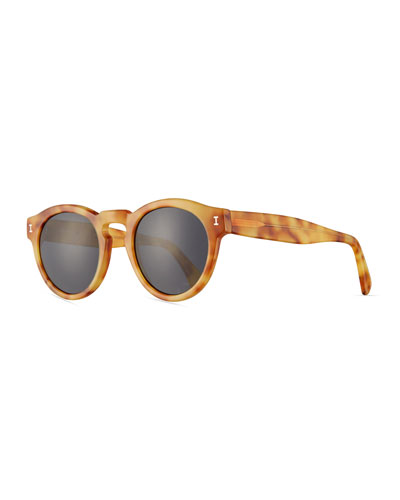 Leonard Monochromatic Round Sunglasses, Blonde Havana