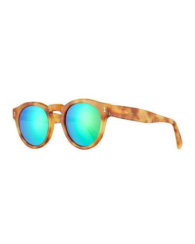 Leonard Mirrored Round Sunglasses, Blonde Havana/Green