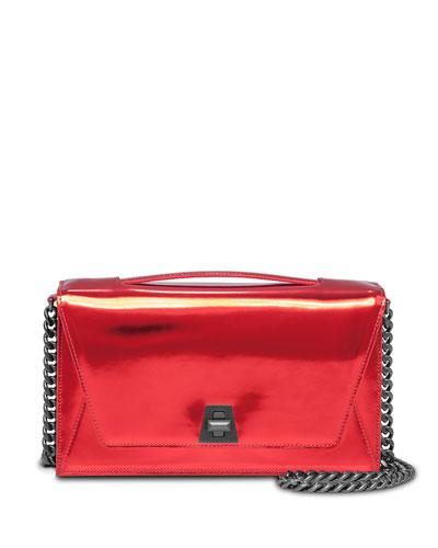 Anouk City Leather Envelope Clutch Bag, Pacific Metallic
