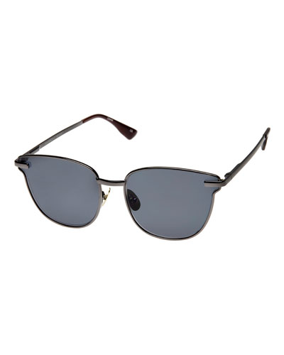 Pharaoh Square Monochromatic Sunglasses, Black