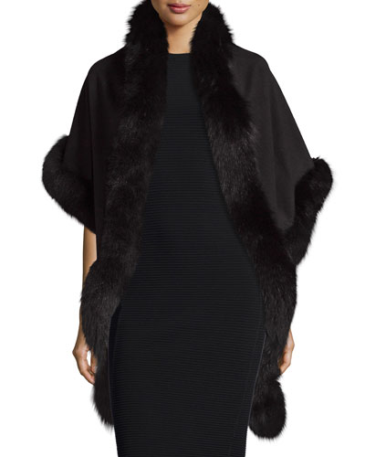 Cashmere Fox-Trim Shawl, Black