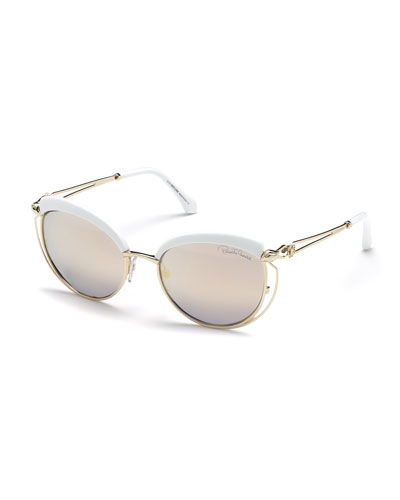Capped Metal Butterfly Sunglasses, Gold