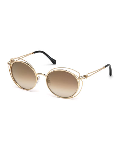 Open-Inset Metal Butterfly Sunglasses, Rose Gold