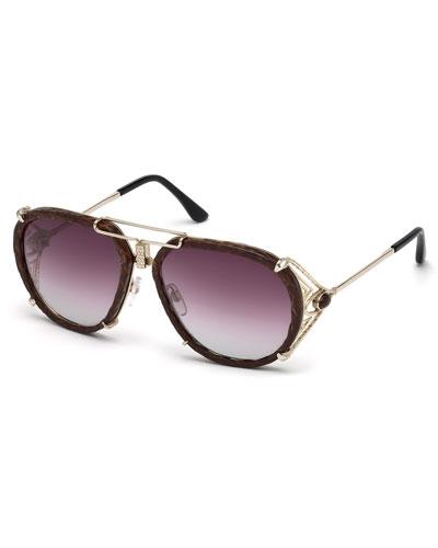 Snakeskin Aviator Sunglasses, Gold/Brown