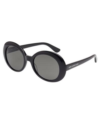 Monochromatic Oval Sunglasses, Black