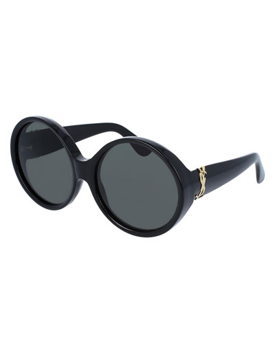 Round Chunky Monochromatic Sunglasses, Black