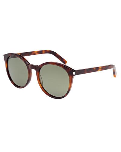 Round Monochromatic Sunglasses, Brown