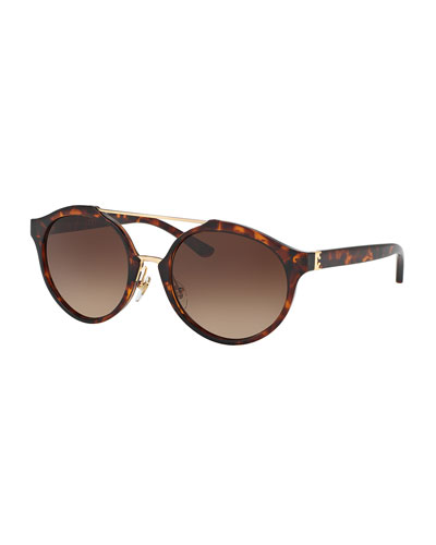Gradient Round Double-Bridge Sunglasses, Brown Havana