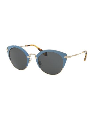 Monochromatic Inlay Cat-Eye Sunglasses