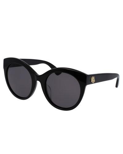 Monochromatic Oversized Rounded Cat-Eye Sunglasses, Black