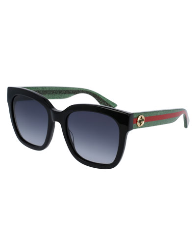 Glittered Oversized Rectangular Universal-Fit Sunglasses, Black/Green/Red