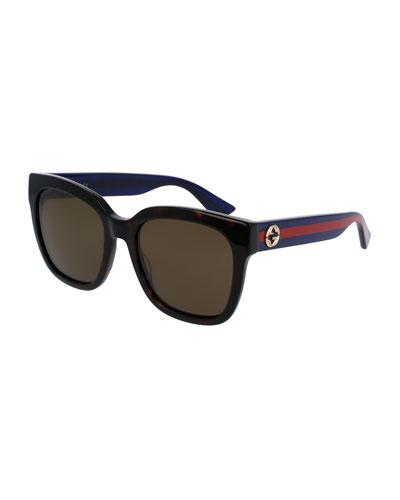 Oversized Rectangular Sunglasses, Tortoise/Blue/Red