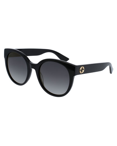 Gradient Round Sunglasses, Black