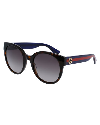 Gradient Round Sunglasses, Tortoise/Blue/Red