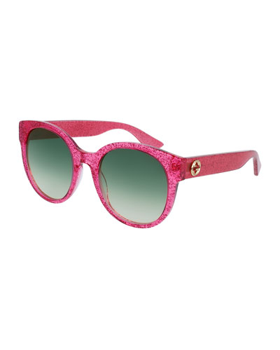 Glittered Gradient Round Sunglasses, Fuchsia