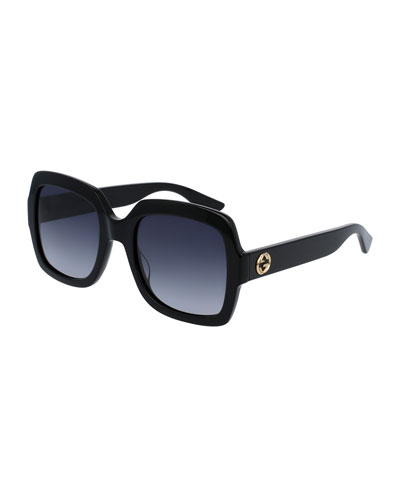 Classic Oversized Rectangular Sunglasses, Black