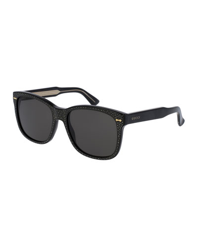 Monochromatic Studded Square Sunglasses, Black