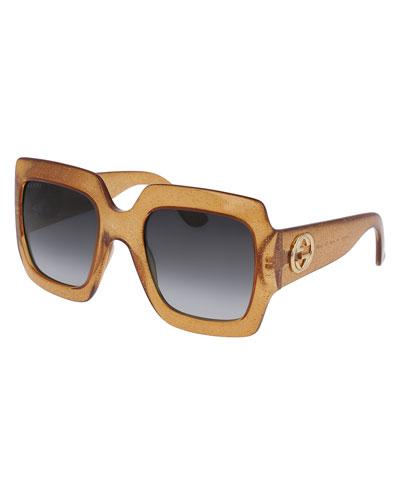 Glittered Transparent Oversized Square Sunglasses, Gold