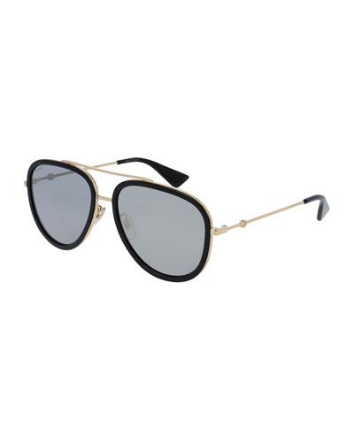 Mirrored Monochromatic Acetate-Trim Aviator Sunglasses, Gold/Black