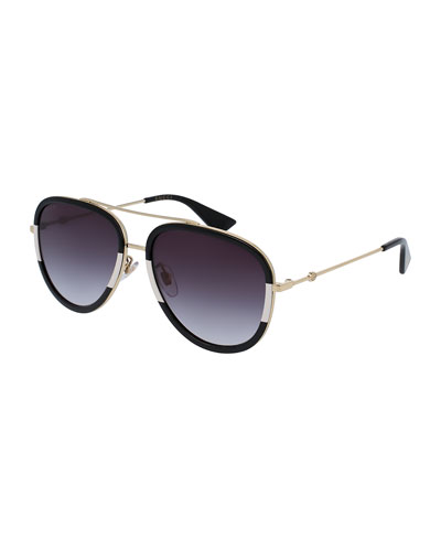 Gradient Web Aviator Sunglasses, Gold/Black/Ivory