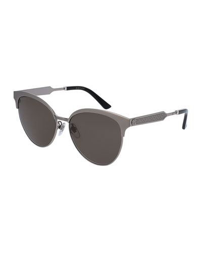 Engraved Metal Semi-Rimless Cat-Eye Sunglasses, Ruthenium