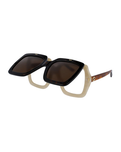 Oversized Square Flip-Up Sunglasses, Brown