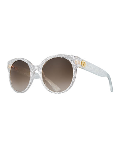 Glittered Round Sunglasses, Silver