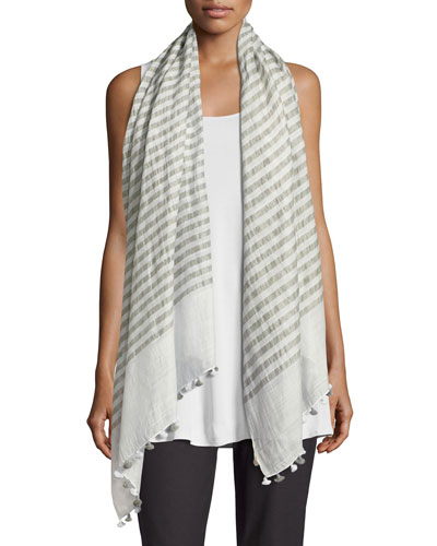 Lightweight Hand-Loomed Striped Scarf, Rain