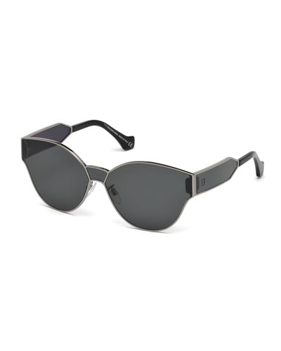 Monochromatic Shield Cat-Eye Sunglasses, Gray Metallic