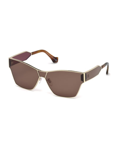 Metal Monochromatic Shield Sunglasses, Gold/Brown