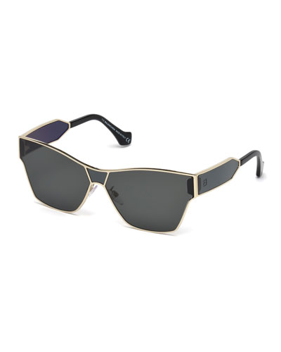 Metal Monochromatic Shield Sunglasses, Gold/Smoke