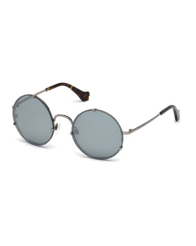 Round Monochromatic Metal Sunglasses, Light Ruthenium/Havana