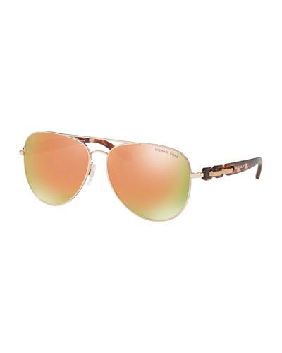 Mirrored Iridescent Chain-Link Aviator Sunglasses, Rose Gold
