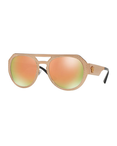 Embossed Metal Mirrored Iridescent Aviator Sunglasses, Rose Gold